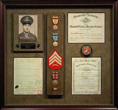 """Each soldier has a story to be told. Display medals, documents, photos and awards in a shadowbox that will last a lifetime. """"Like"""" Bradley's on Facebook! https://www.facebook.com/bradleysartandframe?ref=hl"""
