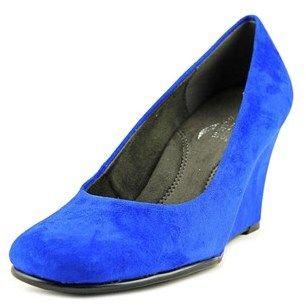 Aerosoles Plum Tree Women W Open Toe Canvas Blue Wedge Heel.