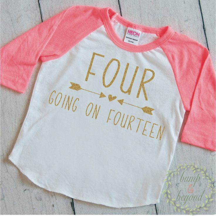 Four Going On Fourteen Shirt 4th Birthday Shirt Girl Fourth Birthday Shirt Fourth Birthday Raglan Hipster Girl Clothes 234 #4_year_old_birthday #4_years_old #4th_birthday_girl