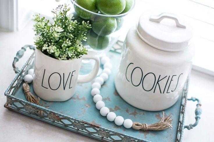 Rae Dunn Clay Cookie Jar.  Rae Dunn Love mug.  Kitchen Decor. Katie Plummer Photography