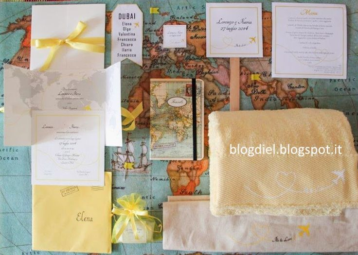 My personal mood board with stationery/favor for a yellow travel wedding.  #travel theme. blogdiel.blgospot.it