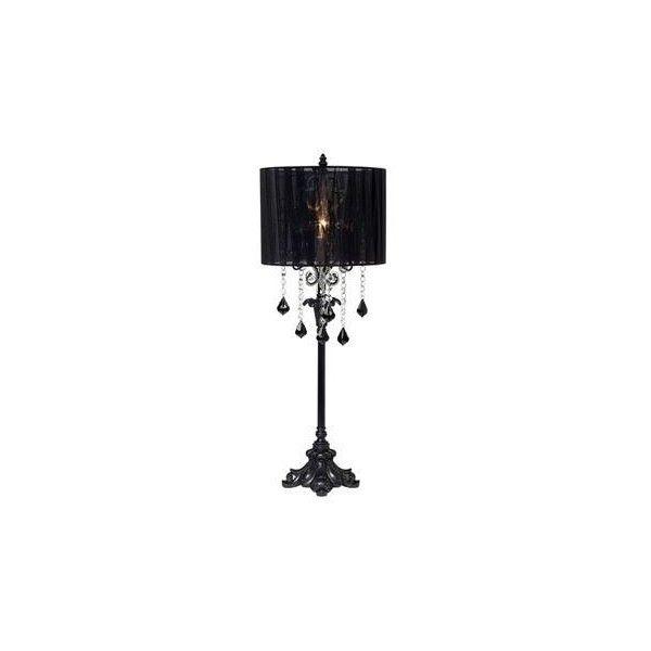 Black Chandelier Lamp: Matte Black Chandelier Drop Sheer Shade Table Lamp | LampsPlus.com found on  Polyvore,Lighting
