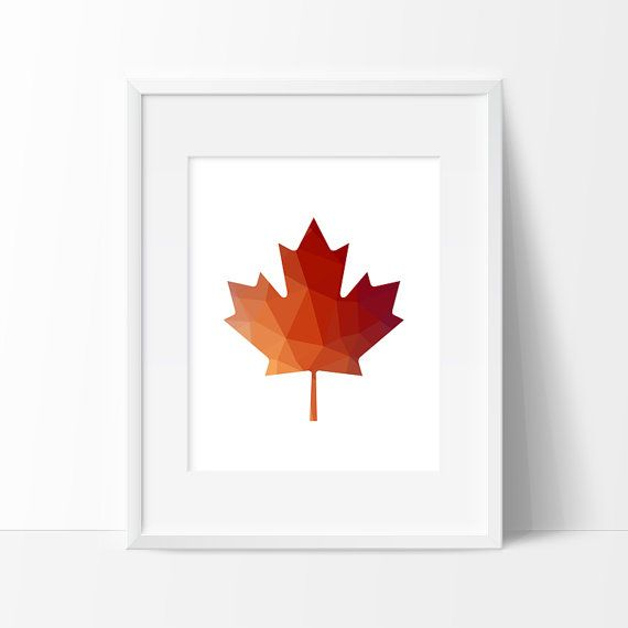 Red Orange Maple Leaf Maple Leaf Print Polygon Art by TopFoxPrints