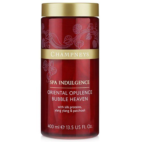 Champneys Spa Indulgence Oriental Opulence Bubble by BOOTS. $7.79. Combining exotic silk proteins with gentle natural cleansers, warming ginseng, sensuous ylang ylang, calming sandalwood and fragrant patchouli, this Oriental Bubble heaven from Champneys Oriental Opulence range brings Eastern promise to your bathroom. 13.3 fl. oz.Champneys therapists recommend......pouring the bubble heaven into your bath, under warm running water and swirling gently. Then relax i...