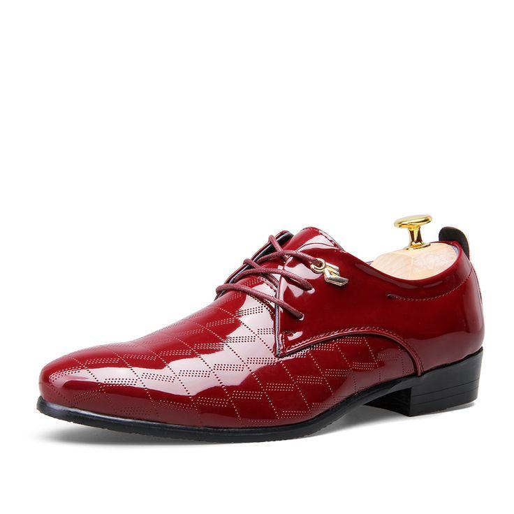 Ideal G nstige Mann Hochzeit Schuhe Solid Black Braun Weinrot Farbe Mens Gl nzend Partei Schuhe Qualit t Leder Kleid