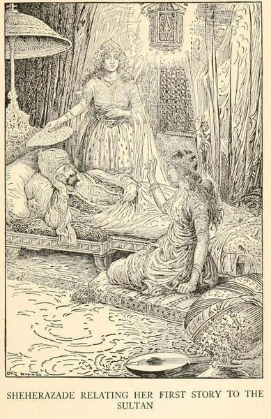 The Arabian nights' entertainments (1916)  Illustrations by Louis Rhead    Sheherazade relating her first story to the sultan.