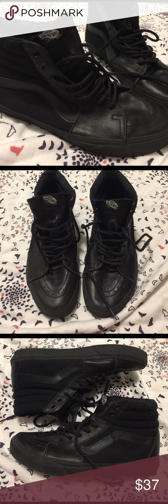 Men's Black On Black high top VANS These shoes are so badass! Seriously black on black on black ON BLACK high tops! Some signs of wear but very well taken care of. Soles are in great condition. Laces are not frayed. Right shoe has small scuff on toe (see photo) don't miss out on these 🕴🏽 Vans Shoes Sneakers