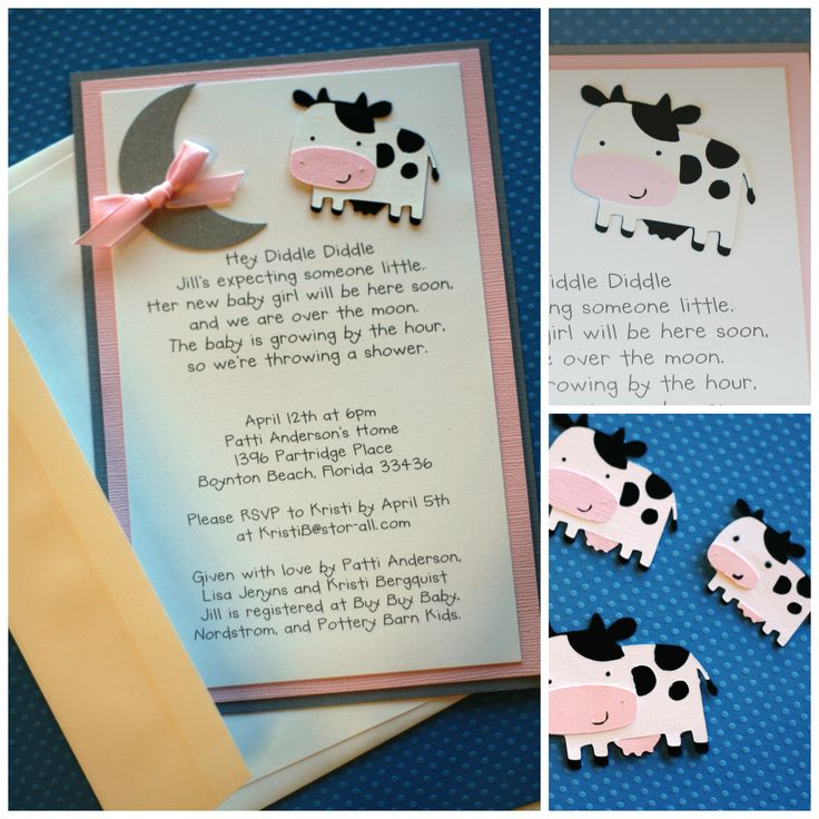 Hey Diddle Diddle Cow Baby Shower Invitation