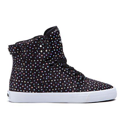 SUPRA WOMEN-SKYTOP   BLACK/POLKA DOT - WHITE   Official SUPRA Footwear Site