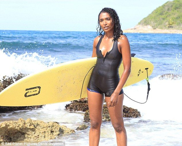 Paradise: Death In Paradise's Sara Martins, 37, certainly seemed to be enjoying herself as she filmed scenes for the BBC show on the Caribbean island of Guadeloupe on Thursday