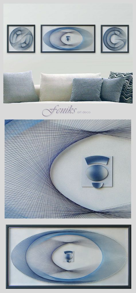 A Wonderful Wall Art Set in Pastel Blue - The Crystal Clear Water Shimmering in the Sun Touching the Open Sky at the Beach - Gentle Blue Relaxation Probably for your Office or your Coffe Shop, for Yoga Lovers and Meditation and Sacred Geometry Fans… Zen Wall Art in Extra Fine String Art Technique - already Framed