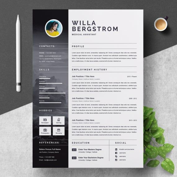 Resume Template For Medical Assistant Etsy Resume Design Resume Template Creative Resume Templates