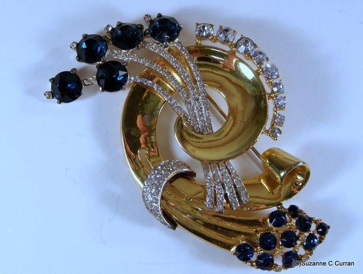 1943 Adolph Katz Coro Kraft Gold over Sterling & Rhinestone Floral Ribbon Brooch #CoroCraft