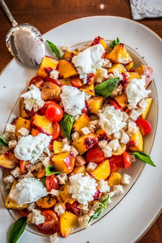 Peach, Cherry Tomato Panzanella with Burrata Cheese is a summer salad of grilled peaches