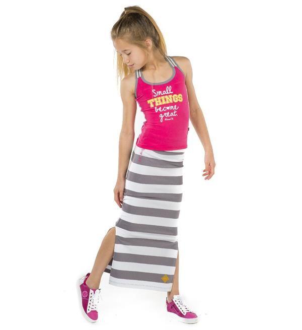 Ninni Vi maxi rok met brede streep en split in de zijnaad.