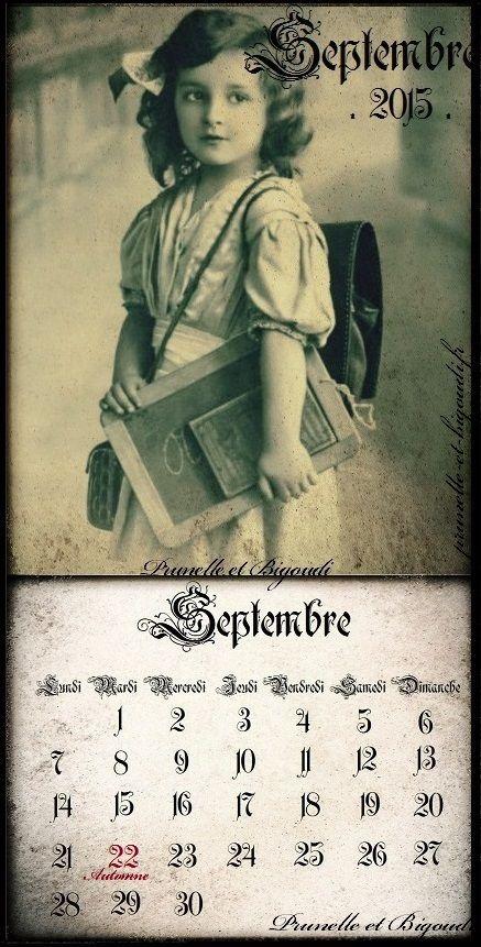 Calendrier... Septembre 2015 http://prunelle-et-bigoudi.fr/calendrier-2015-a-imprimer