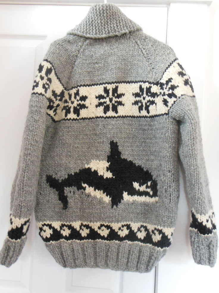 Cowichan Sweater with Orcas
