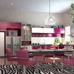 light purple kitchen set with dining room