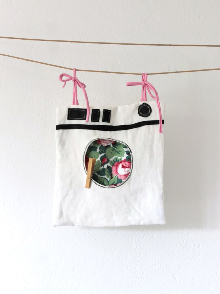 large upcycle peg bag WASHING MACHINE, lots of roses, clothespin bag by Sunchildsews on Etsy