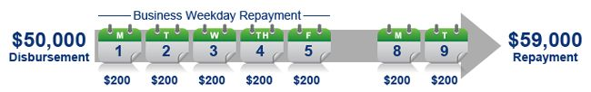 Small business loan repayment schedule example.