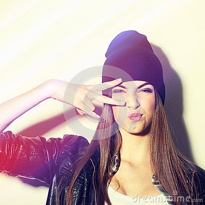 Hipster Teenage Girl With Beanie Hat Pouting - Download From Over 50 Million High Quality Stock Photos, Images, Vectors. Sign up for FREE today. Image: 41009496