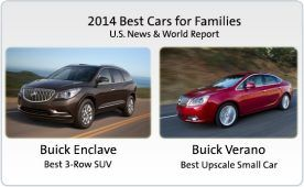 2014 Best Cars for Families Buick Enclave:  Best 3-Row SUV for Families Buick Verano:  Best Upscale Small Car for Families