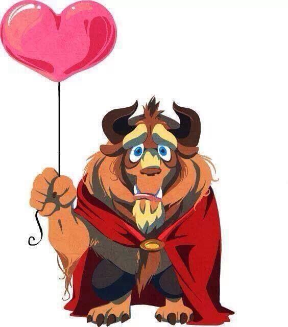Cute And Sad Beast Holding A Red Heart BalloonDisneys Beauty The