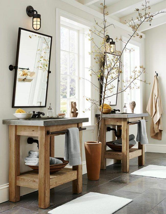 Rustikaler Holz Waschtisch Mit Betonplatte Von Pottery Barn