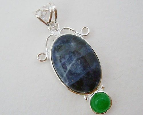 This is a beautiful African Sodalite and Green Jade natural gemstone pendant in 925 Sterling Silver.