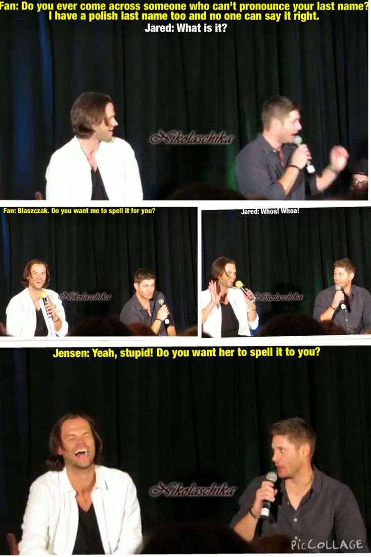Supernatural, Jensen Ackles and Jared Padalecki. Dallas Con 2014 Salute to Supernatural. Funny supernatural convention