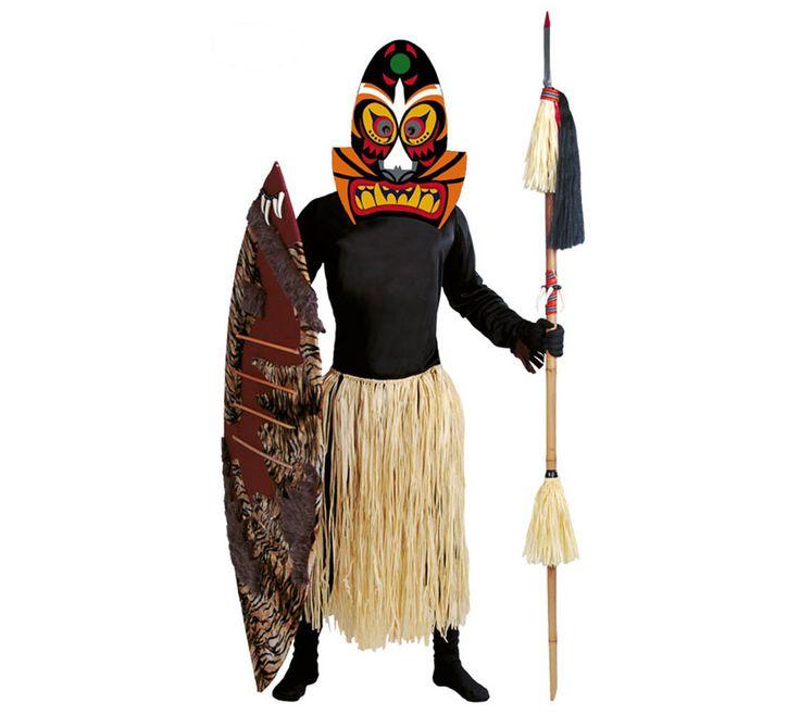 Disfraz de Zulú para hombre. Talla standar 52/54. Incluye máscara, camisa y falda. Disfraz de Salvaje de la Selva para hombre.