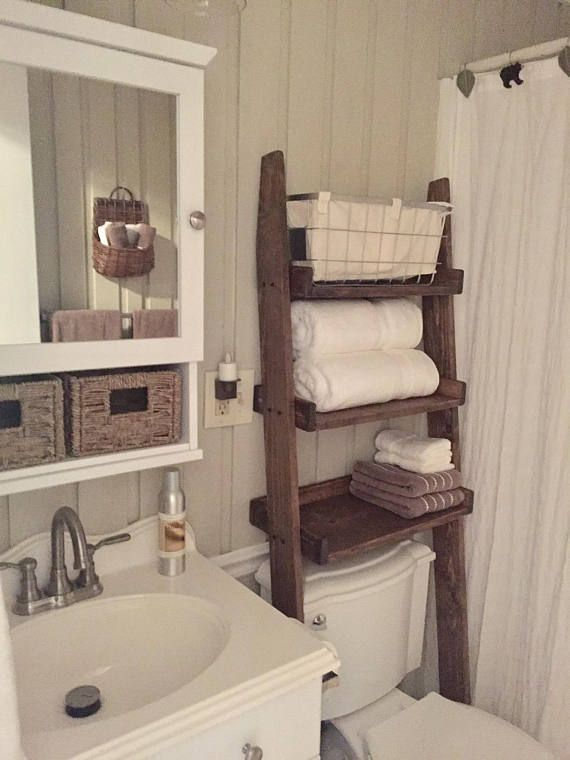 Over the Toilet Ladder Shelf choose finish Bathroom, rustic shelf, bathroom storage, Small Bathroom Storage Ideas, Bathroom Storage, Rustic Decor, Farmhouse Decor, Modern Farmhouse, Bathroom Organizer, Toilet Paper Holder, Space Saving Bathroom Storage Ideas, Over the Toilet Organizer, Bathroom organizer, modern towel holder, stained, farmhouse bathroom, painted finish #affiliatelink