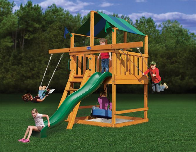 28 best playsets for small yards images on pinterest for Small wooden swing sets