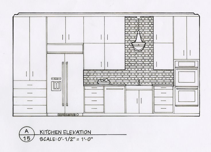 Front Elevation Of Drawing Room : Detailed elevation drawings kitchen bath bedroom on