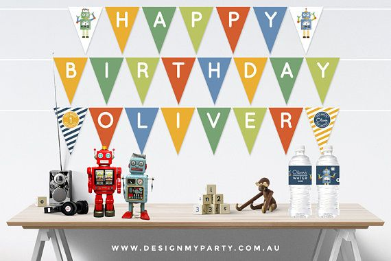 Robot Party Bunting Flags Personalised DIY Printables