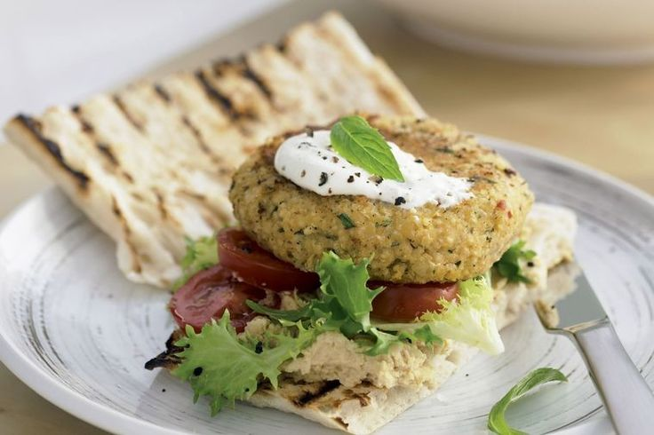 We bet this Middle Eastern couscous and bean burger, served with hummus, yoghurt and mint, won't just be the choice of vegetarians.