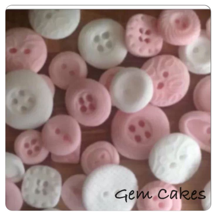 Edible baby Shower christening Pink And white vintage buttons cupcake toppers decorations for Girls