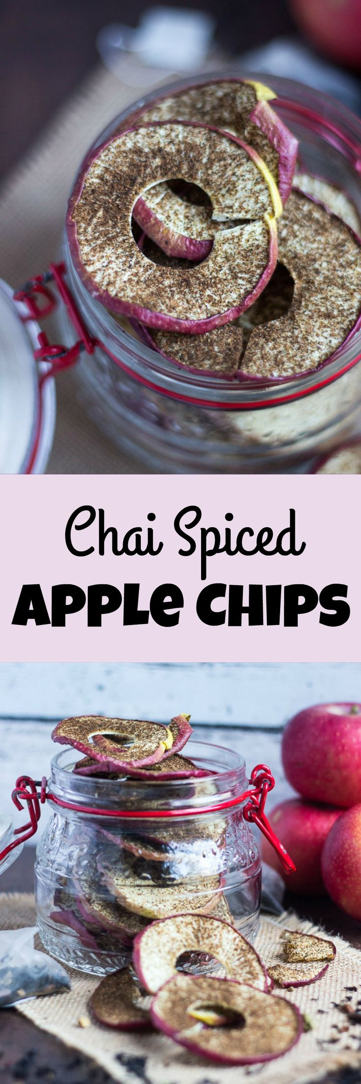 Chai Spiced Apple Chips. Sugar free yet full of flavour, these are perfect for a healthy snack on the run.