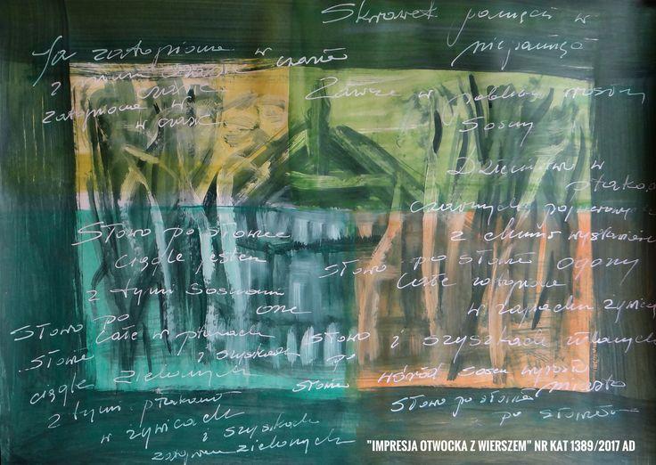 Malarstwo Wandy Murat....  Obraz o wym: 50x70cm...akryl ...karton biały... Impresja  otwockiego drewniaka  z moim wierszem W tle...