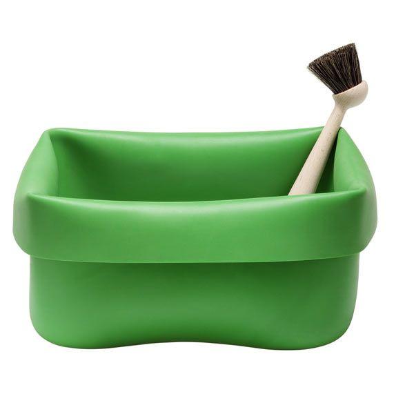 Tiskivati ja harja, vihre�Interesting dish pan