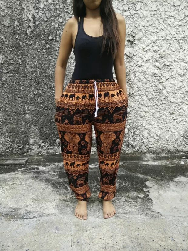 elephant hippie tribal pattern joggers sweatpants