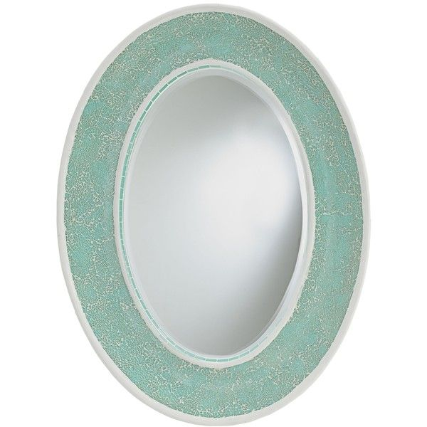 "Currey and Company Eos Aqua 23"" x 31"" Oval Wall Mirror ($530) ❤ liked on Polyvore featuring home, home decor, mirrors, blue, blue wall mirror, blue mirror, oval wall mirror, ocean mosaic mirror and aqua home decor"