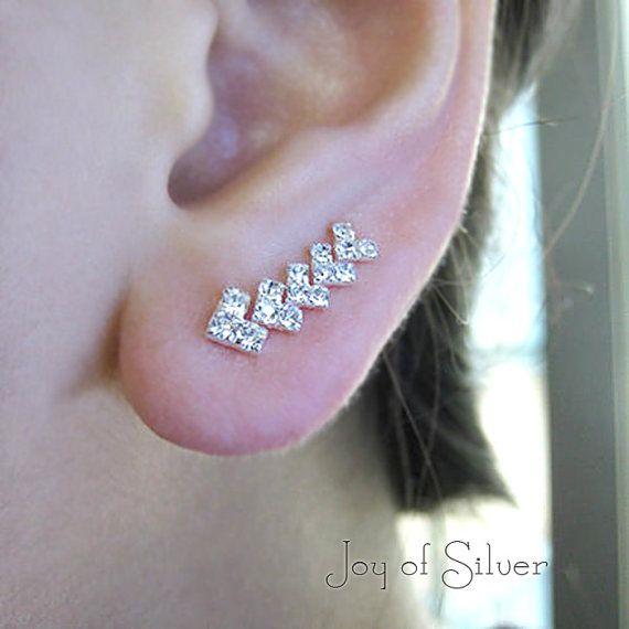 925 sterling silver cz ear pins stud earrings by