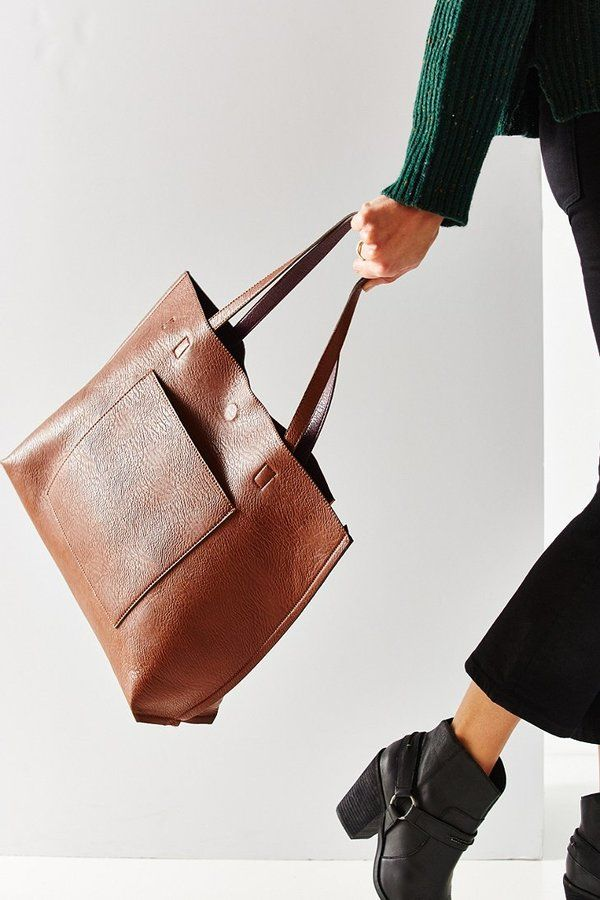 Front pocket! _______ Urban Outfitters Reversible Vegan Leather Tote Bag
