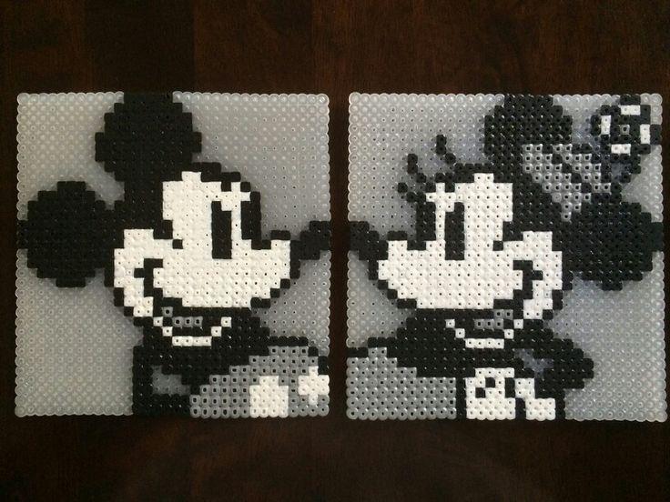 Classic B/W Mickey and Minnie - Disney Perler Beads Made by Daniel Nasiatka