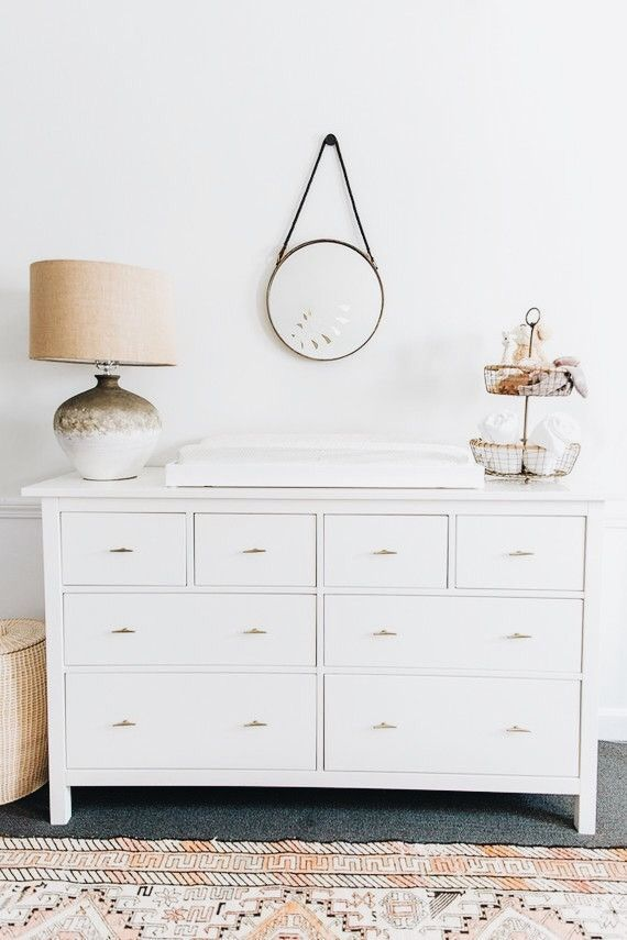 Love The Simplicity Baby S Room Nursery Dresser White Changing Table On Round Mirror Lamp Decor Home Insp