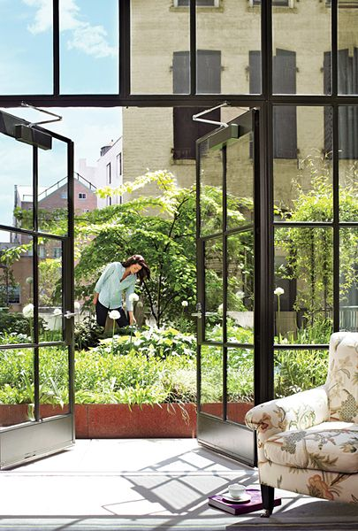 Brimming with sumac, aster, and echinacea, this urban garden, on the roof of The Crosby Street Hotel in New York City, was designed by hotelier Kit Kemp, who, on a crusade for salubrious living, added a sculpture garden as well as a rooftop vegetable patch and chicken coop to supply the kitchen. #John #Daugherty, #Realtors - Houston, TX