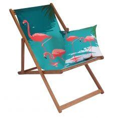 Flamingo deck chair & matching reversible cushion set