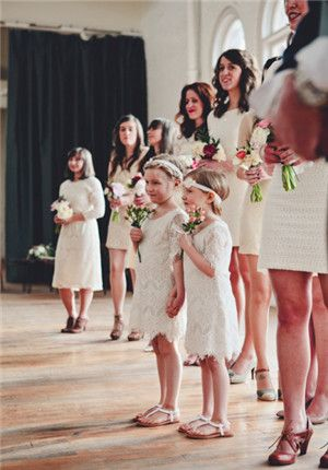 Flower girl dresses and I like the bridesmaid dresses too. Love the simple bouquets