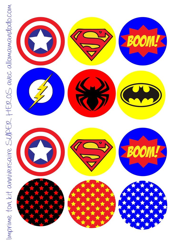Birthday Party of Superheroes: Free Printable Labels, Bunting, Wrappers Cupcakes and Toppers.